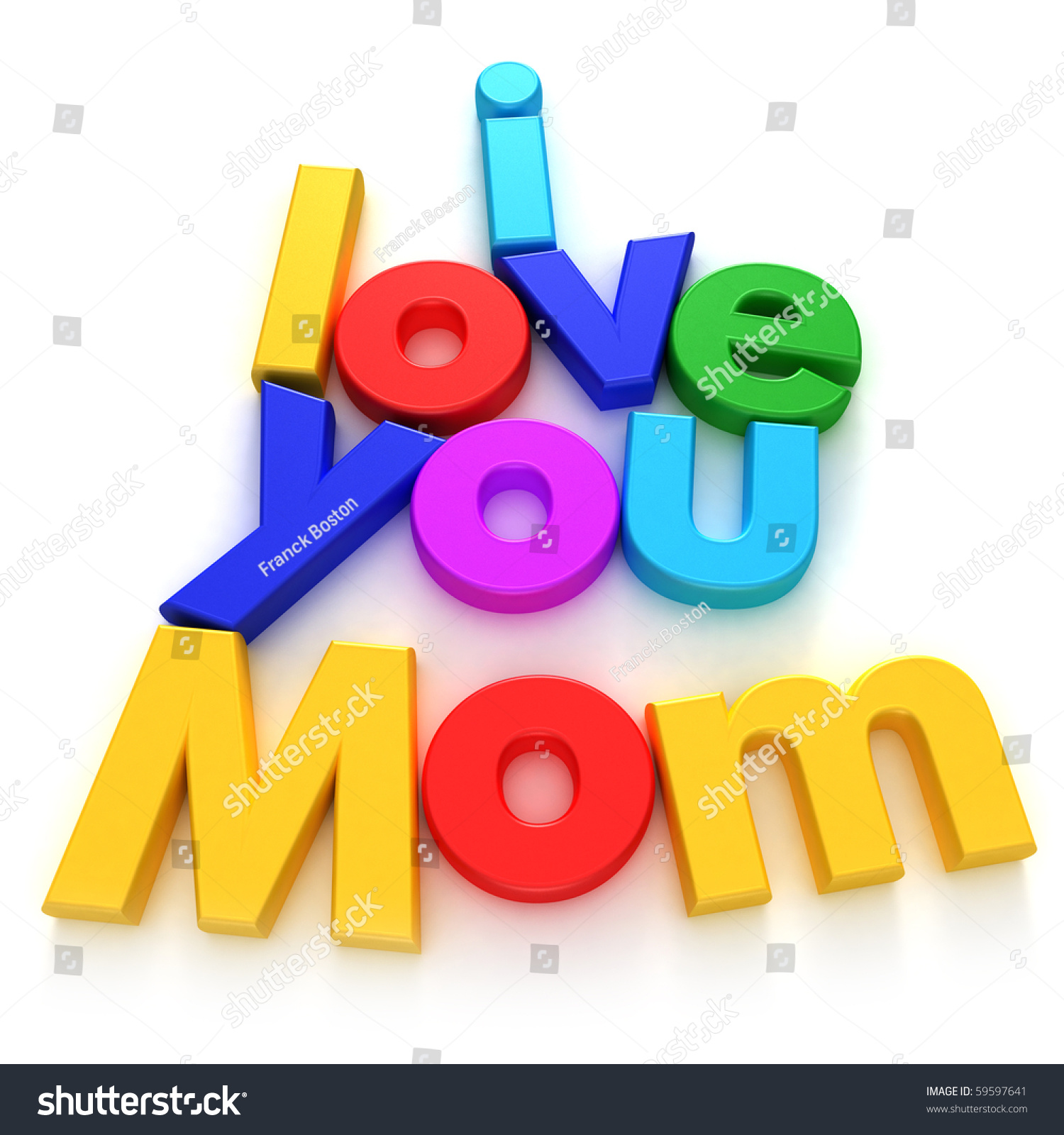 Love You Mom Written Colourful Letter Stock Illustration