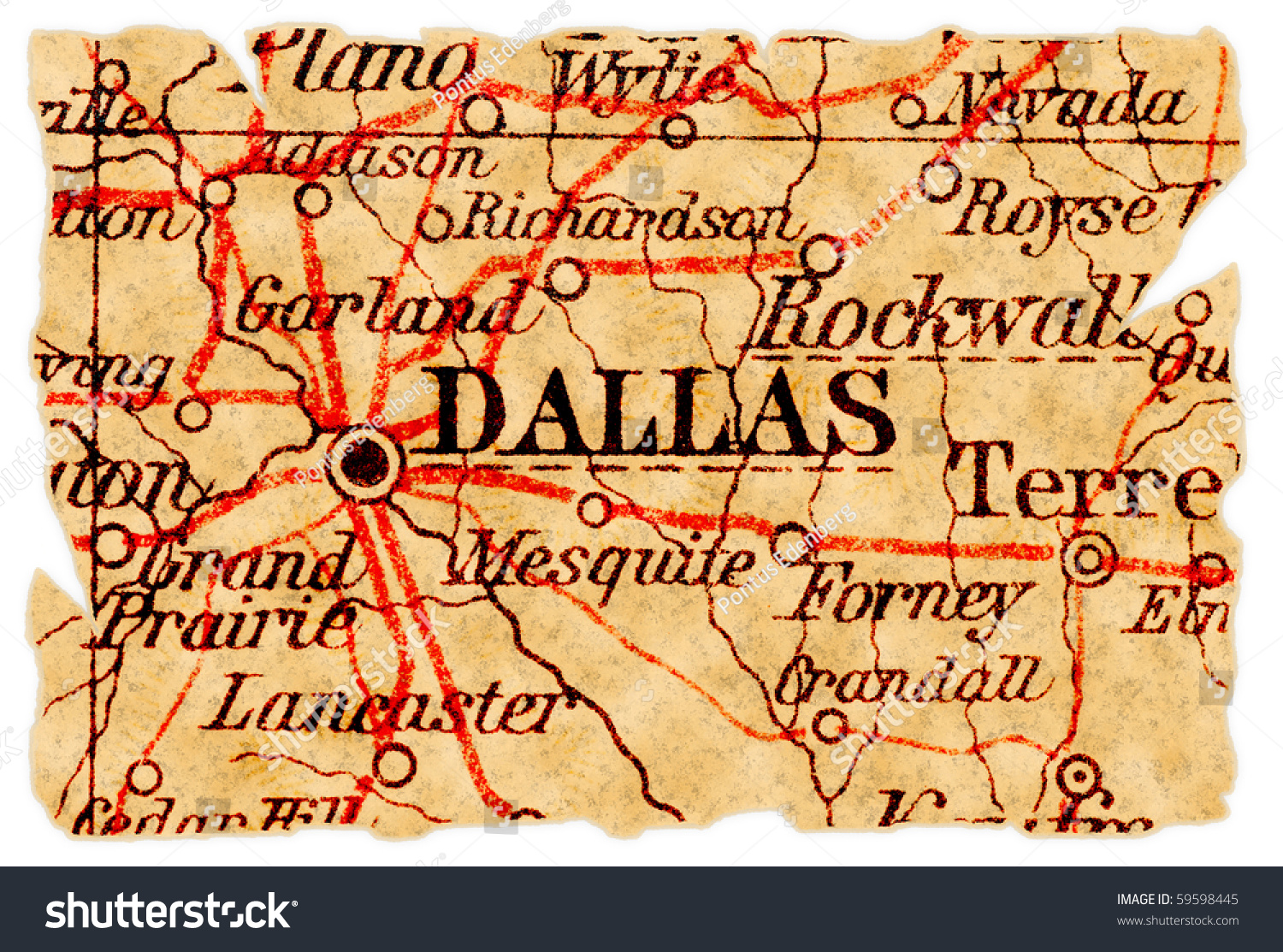 Buy Old Dallas Texas Map Vintage Historical Map Antique: Dallas, Texas On An Old Torn Map From 1949, Isolated. Part
