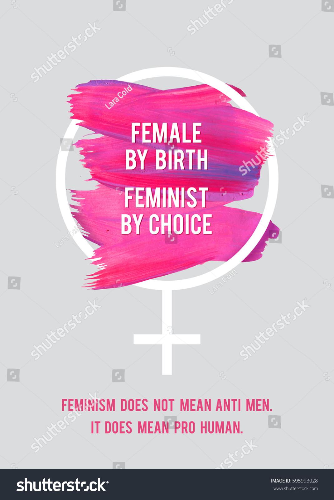 Stroke Poster Feminism Female Symbol Text Stock Vector Royalty Free