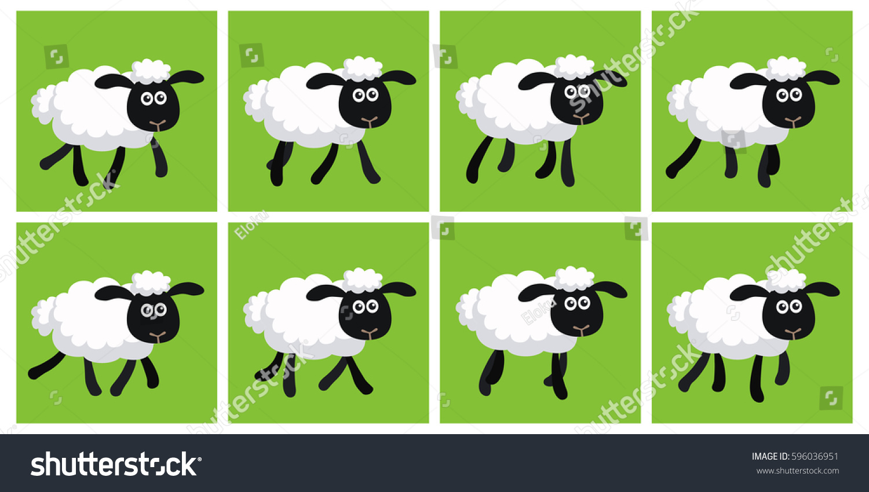 Illustration Cartoon Trotting Sheep Sprite Sheet Stock Illustration ... for Happy Sheep Gif  557yll