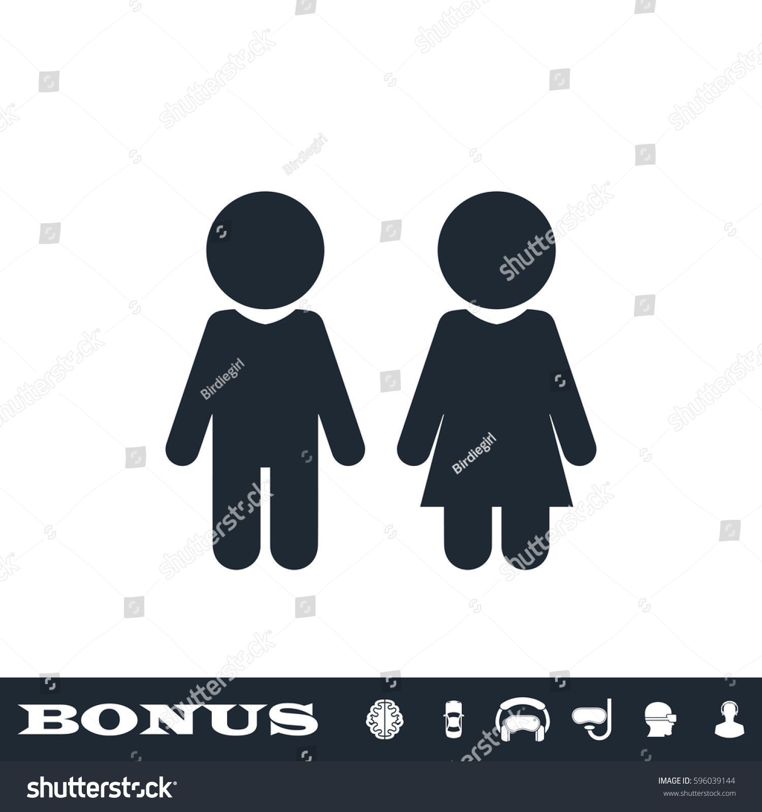 Girl And Boy Icon Flat Simple Black Pictogram On Grey Background