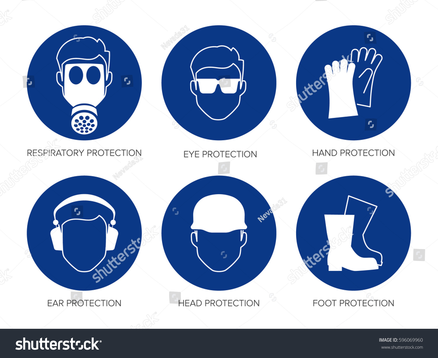 Vector Safety Signs Set Six Blue Stock Vector 596069960 - Shutterstock