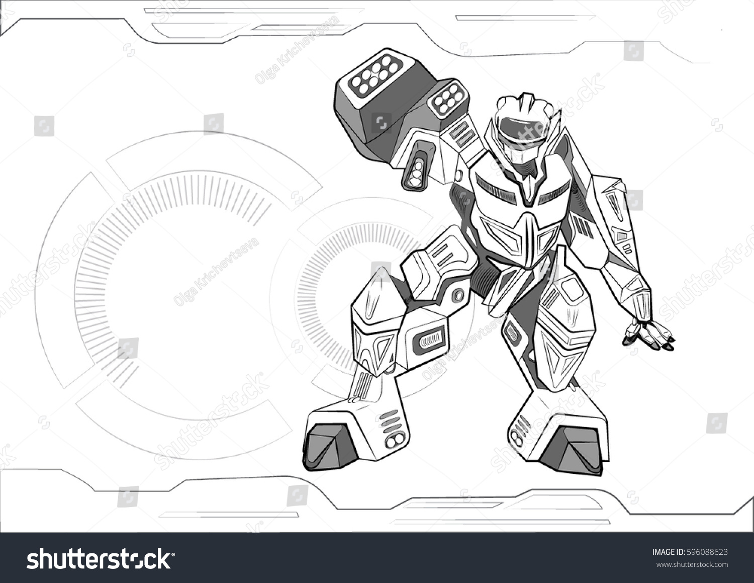 Coloring book with electronic mechanisms contour vector illustration ...