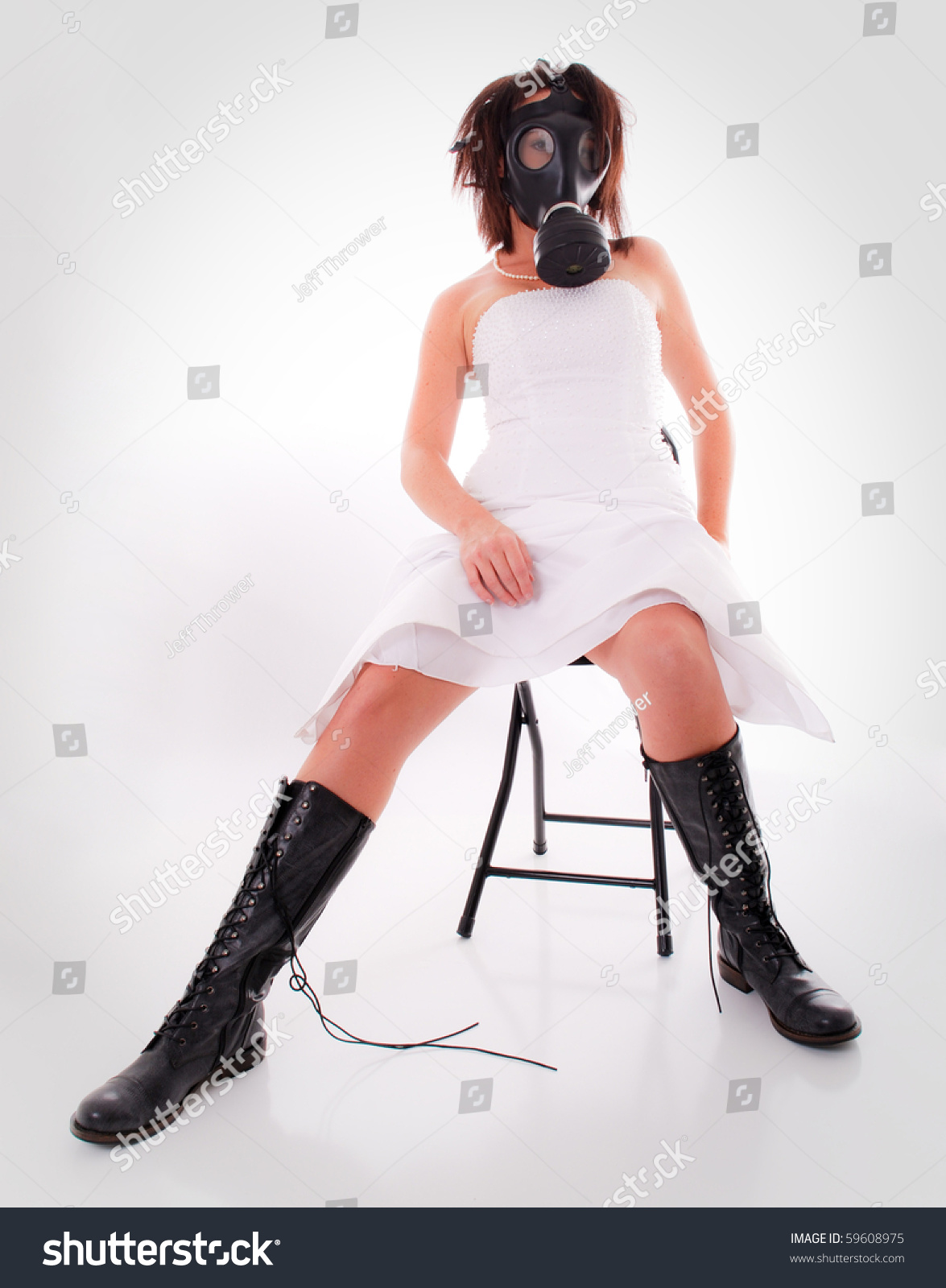 Woman Wedding Dress Gas Mask Boots Stock Photo (Edit Now)- Shutterstock