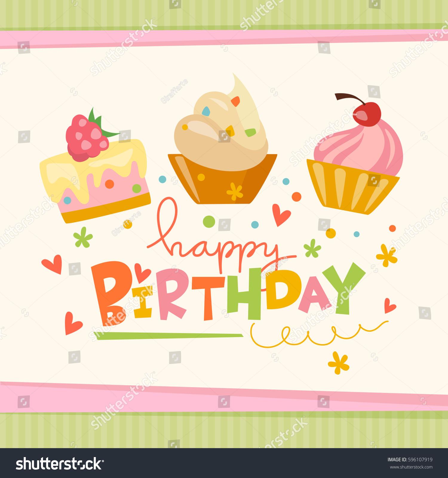Vector Happy Birthday Card Cute Cakes Stock Vector