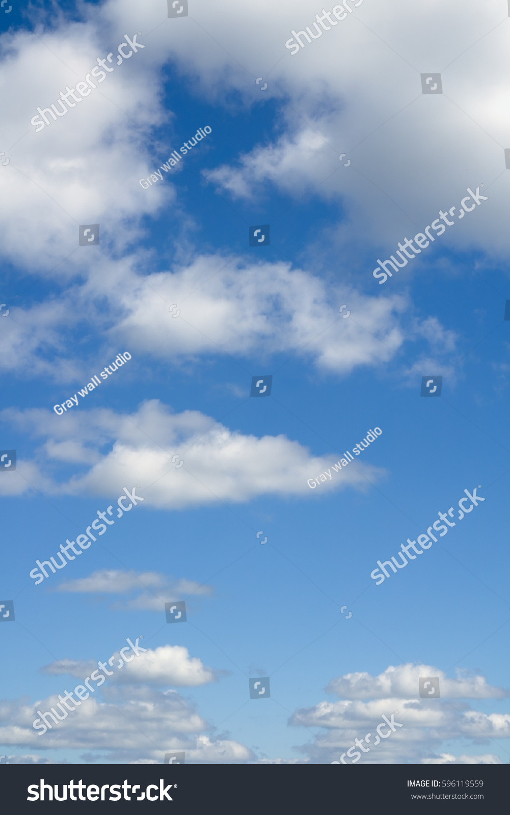 Blue Sky Clouds Over Horizon Stock Photo 596119559 ...