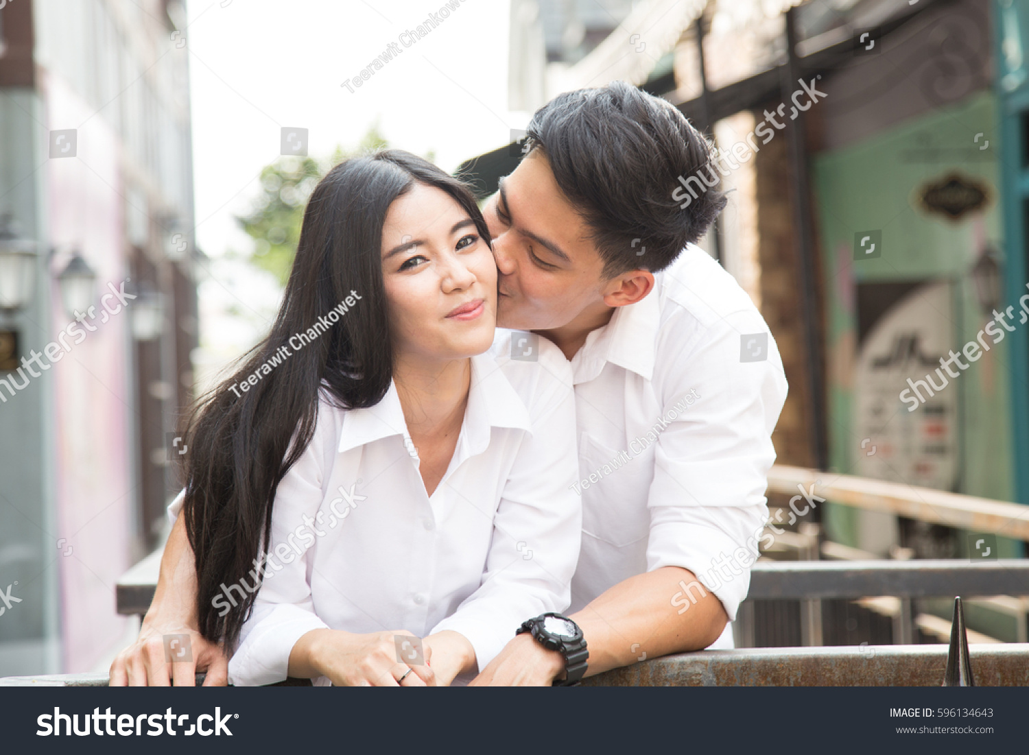 asian lover making lovekissing stock photo (royalty free