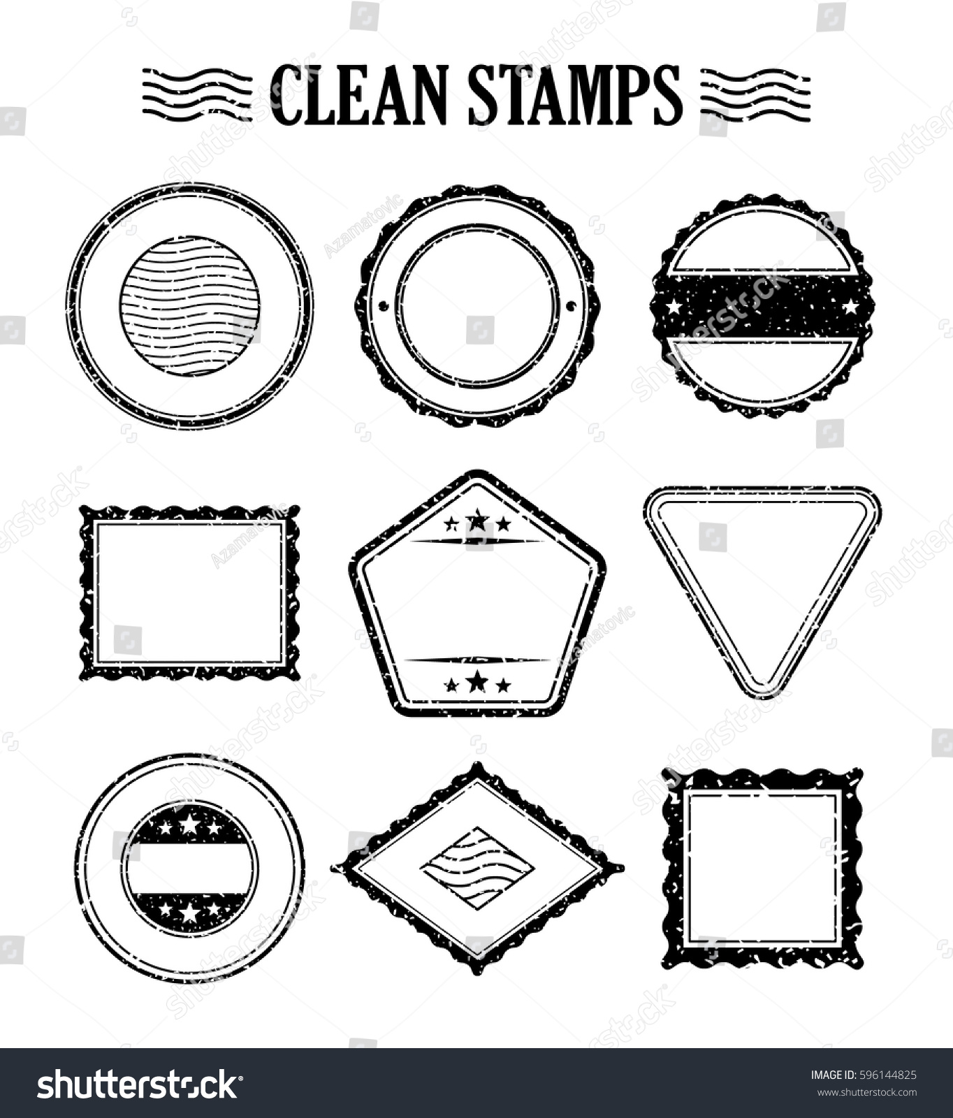 blank stamp set ink rubber seal stock vector royalty free