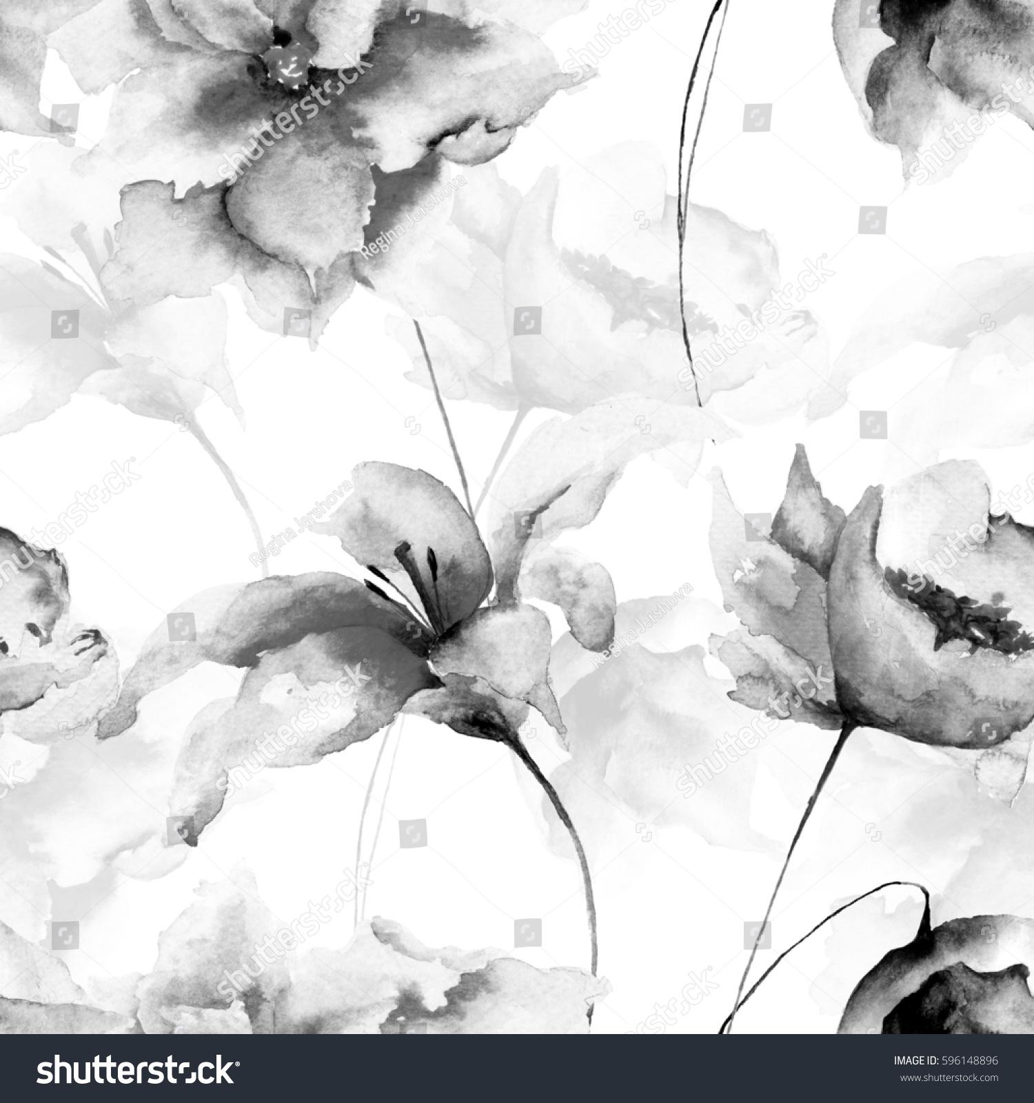 Seamless Wallpaper Flowers Watercolor Illustration Monochrome Stock