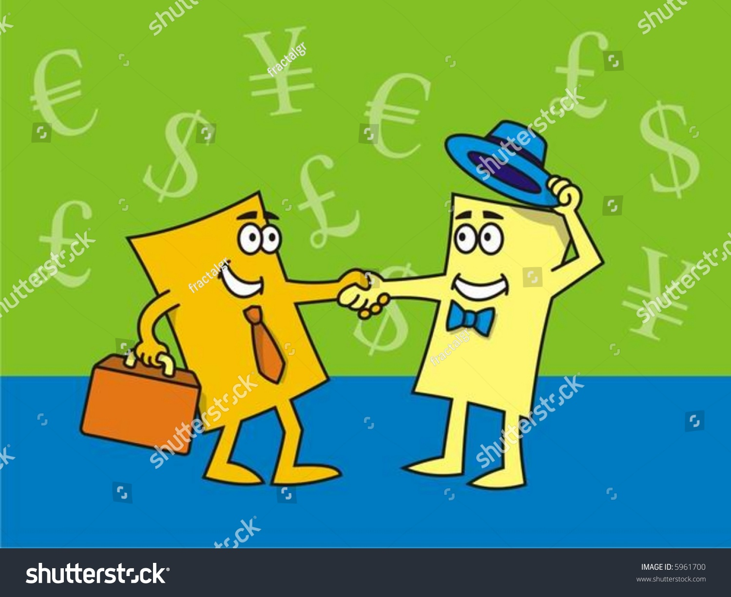 Vector drawing cartoon business cards closing stock vector 5961700 vector drawing of cartoon business cards closing the deal colourmoves Image collections