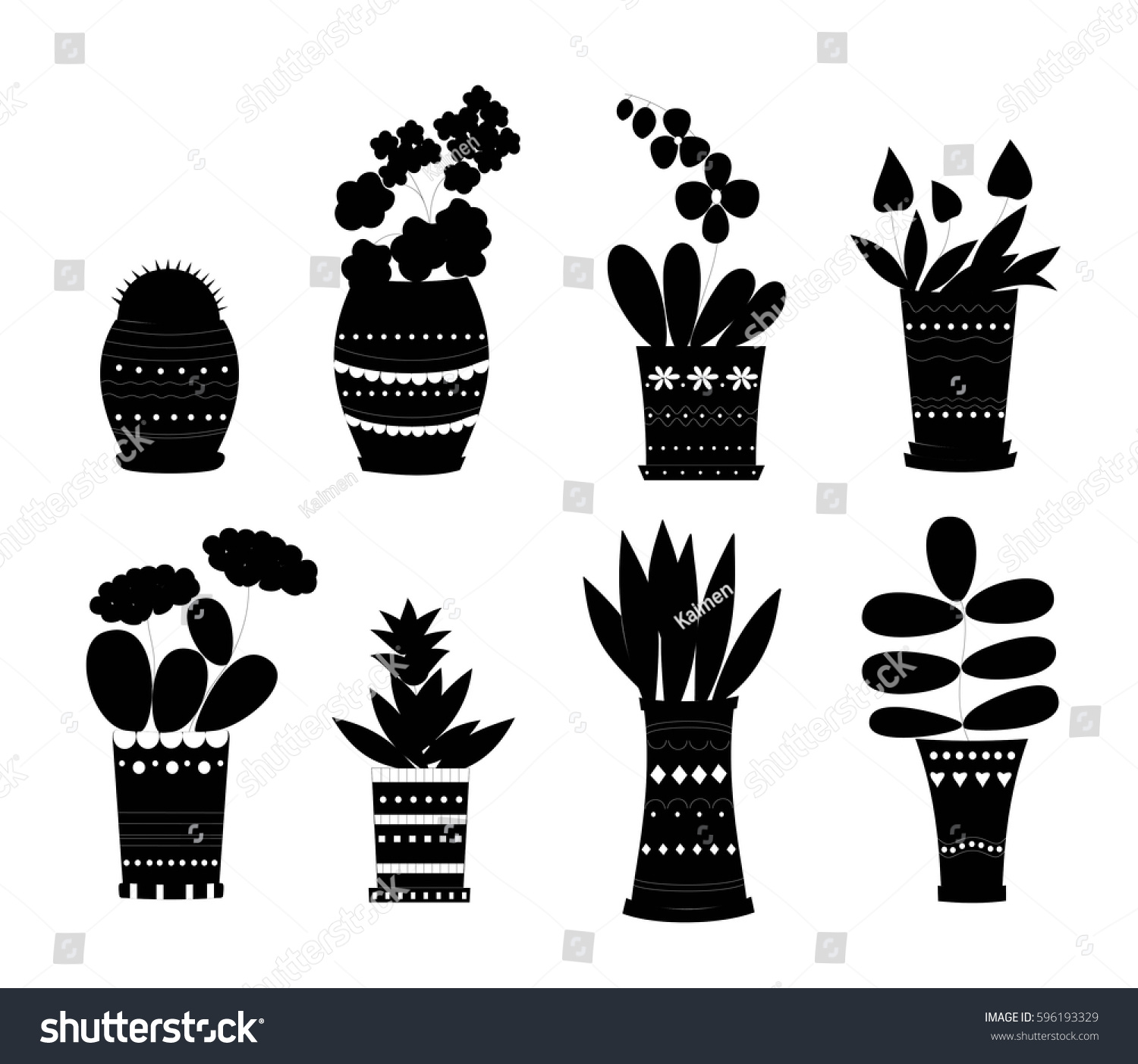 Flower Pots Vector Set Black Silhouette Stock Vector Royalty Free