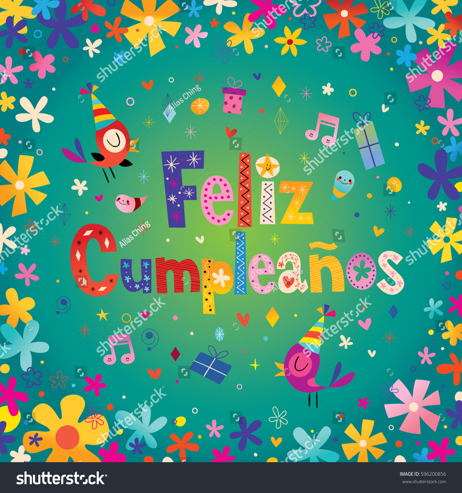 Feliz Cumpleanos Happy Birthday Spanish Greeting Stock Vector