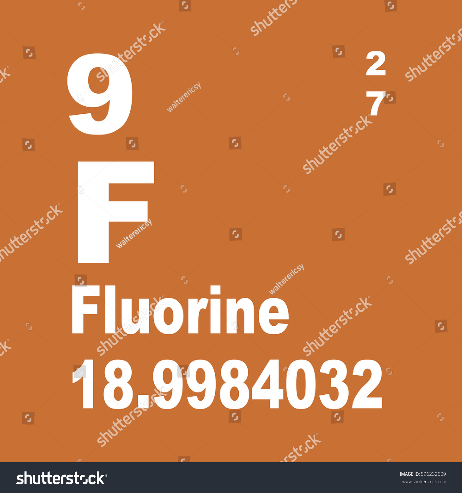 Fluorine periodic table elements stock illustration 596232509 fluorine periodic table of elements gamestrikefo Choice Image