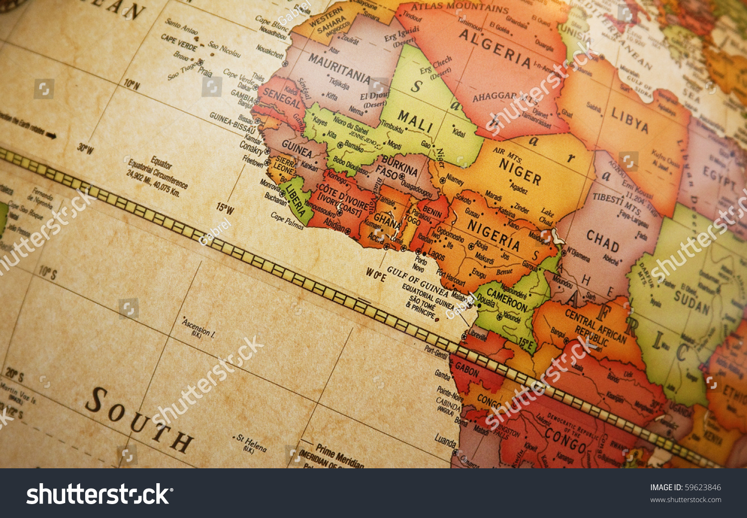 Close World Map Detail African Continent Photo 59623846 – Map of the World in Detail