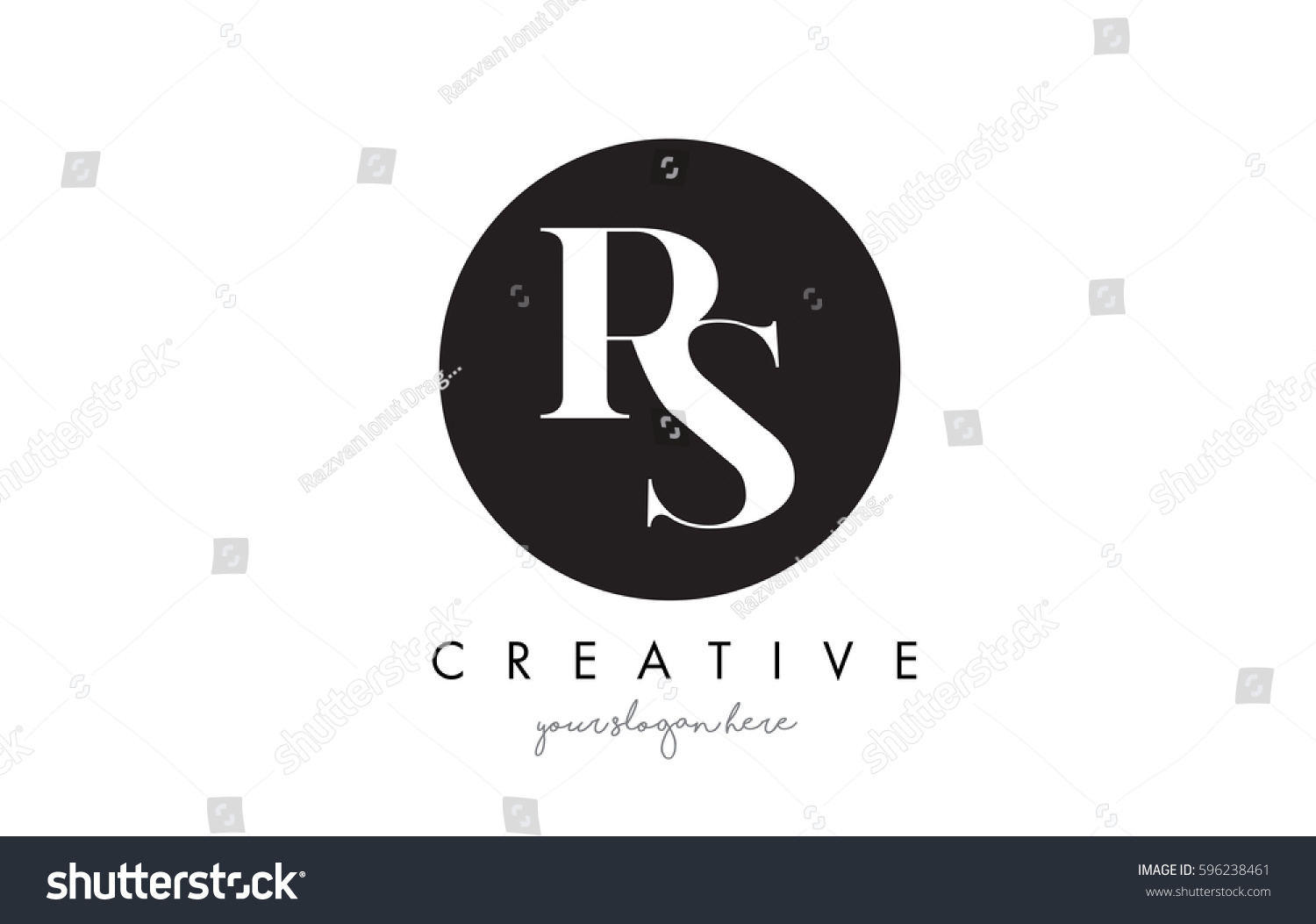 Rs letter logo design black circle stock vector 596238461 shutterstock rs letter logo design with black circle and serif font vector illustration buycottarizona Image collections