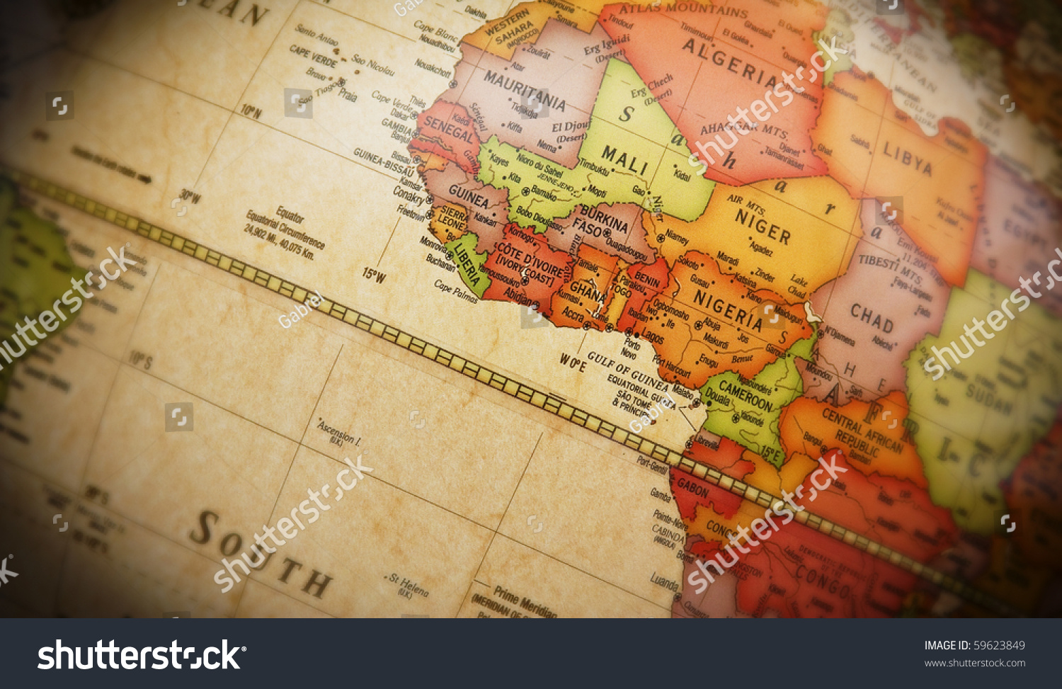 Close world map detail african continent stock photo royalty free close up of world map with detail of african continent focus centered on golf of gumiabroncs Image collections