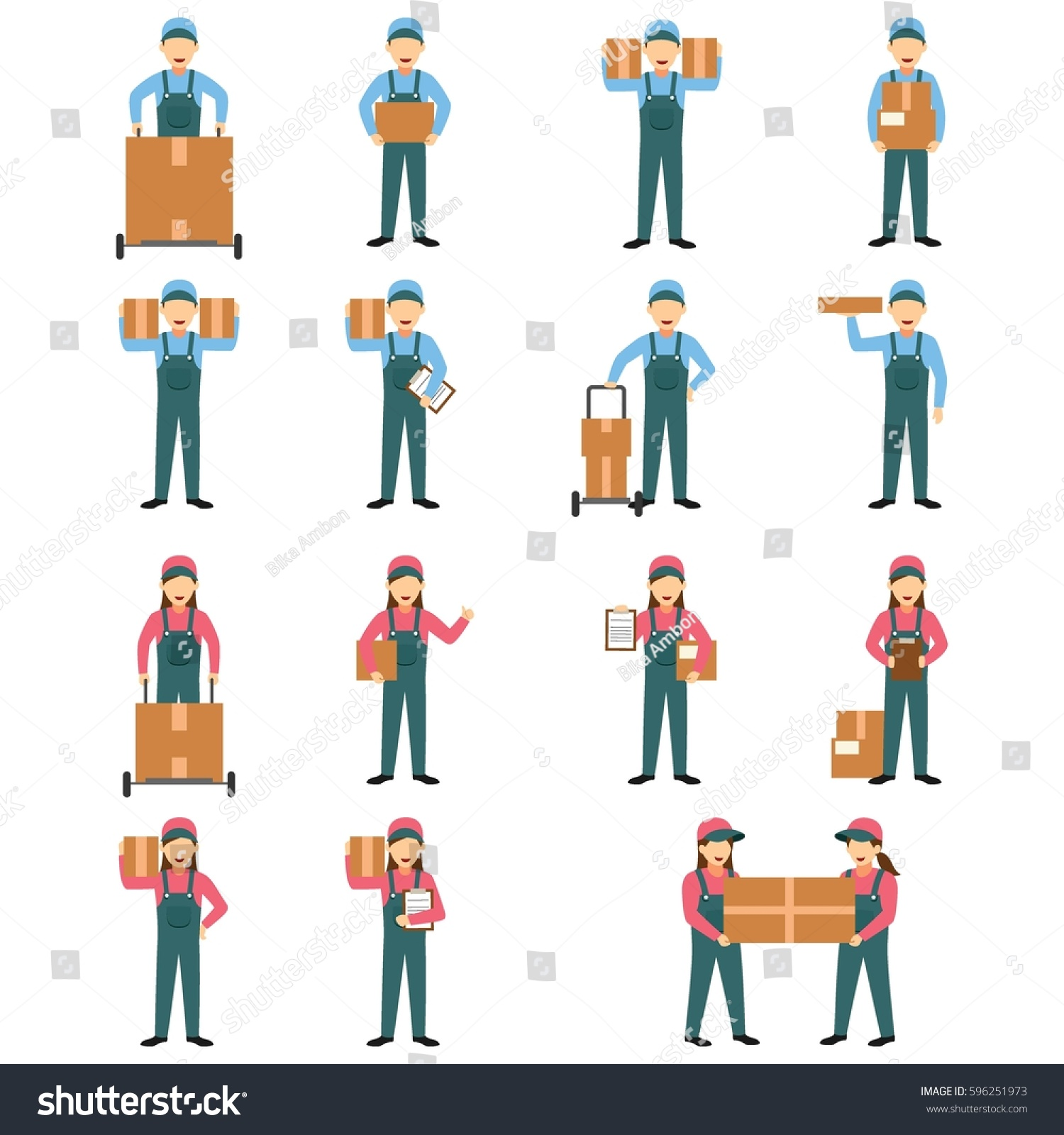 Character Design Set : Set delivery character design vector stock