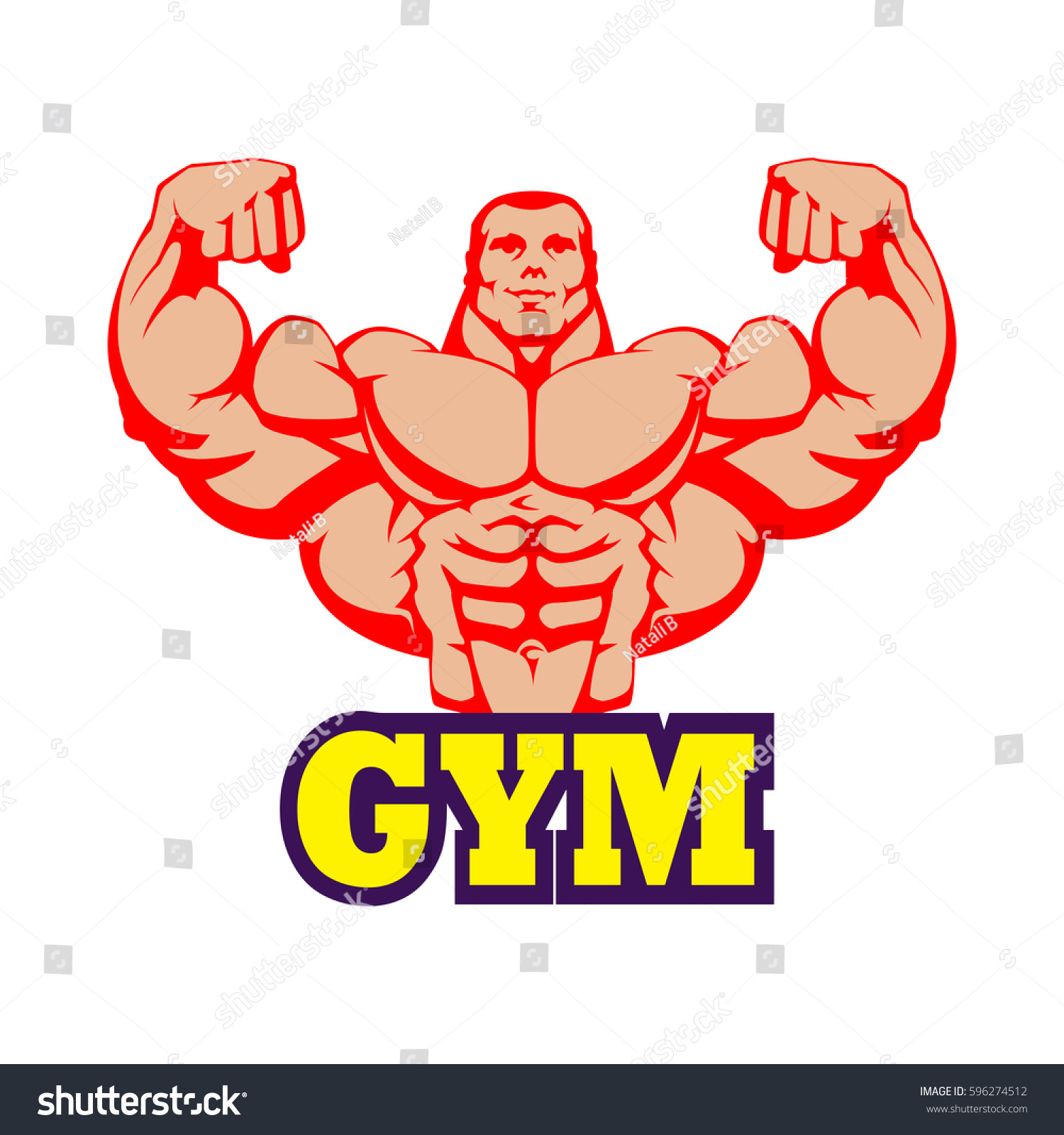 Strong Bodybuilder Huge Biceps Gym Logo Design Yellow Letters Red Body Vector EPS