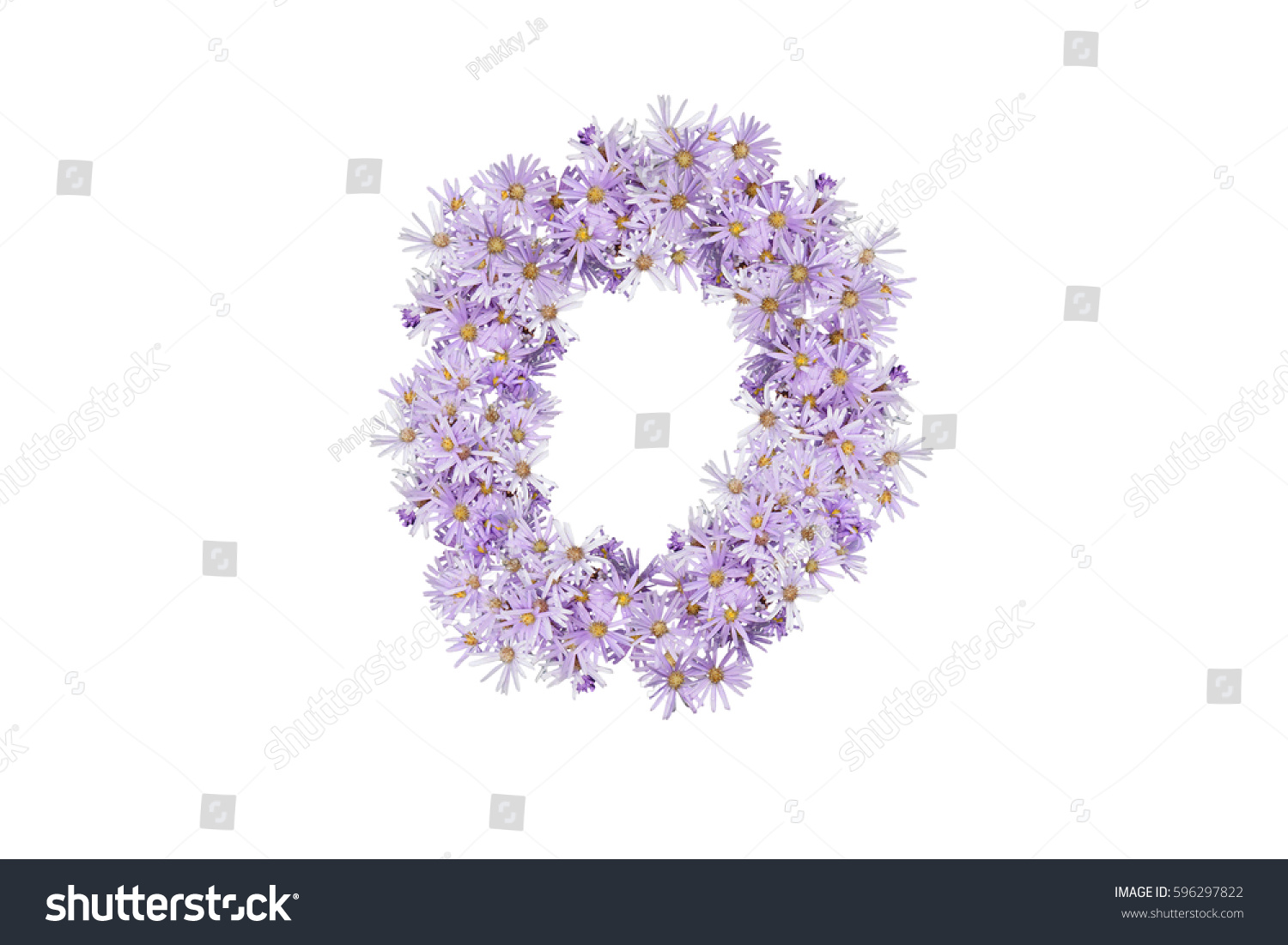 Letter O Purple Flowers Isolated On Stock Photo Edit Now 596297822