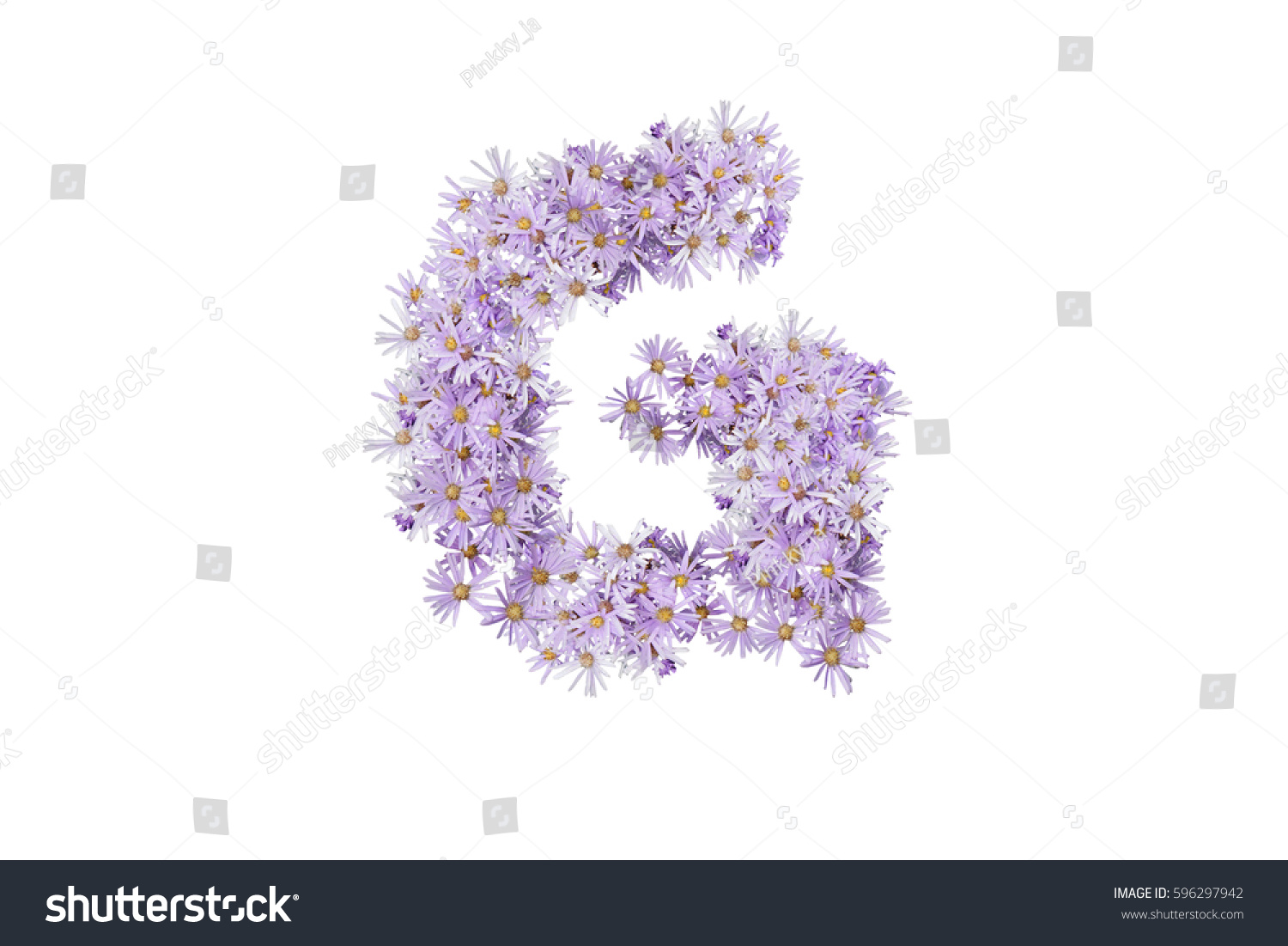 Letter G Purple Flowers Isolated On Stock Photo Edit Now 596297942