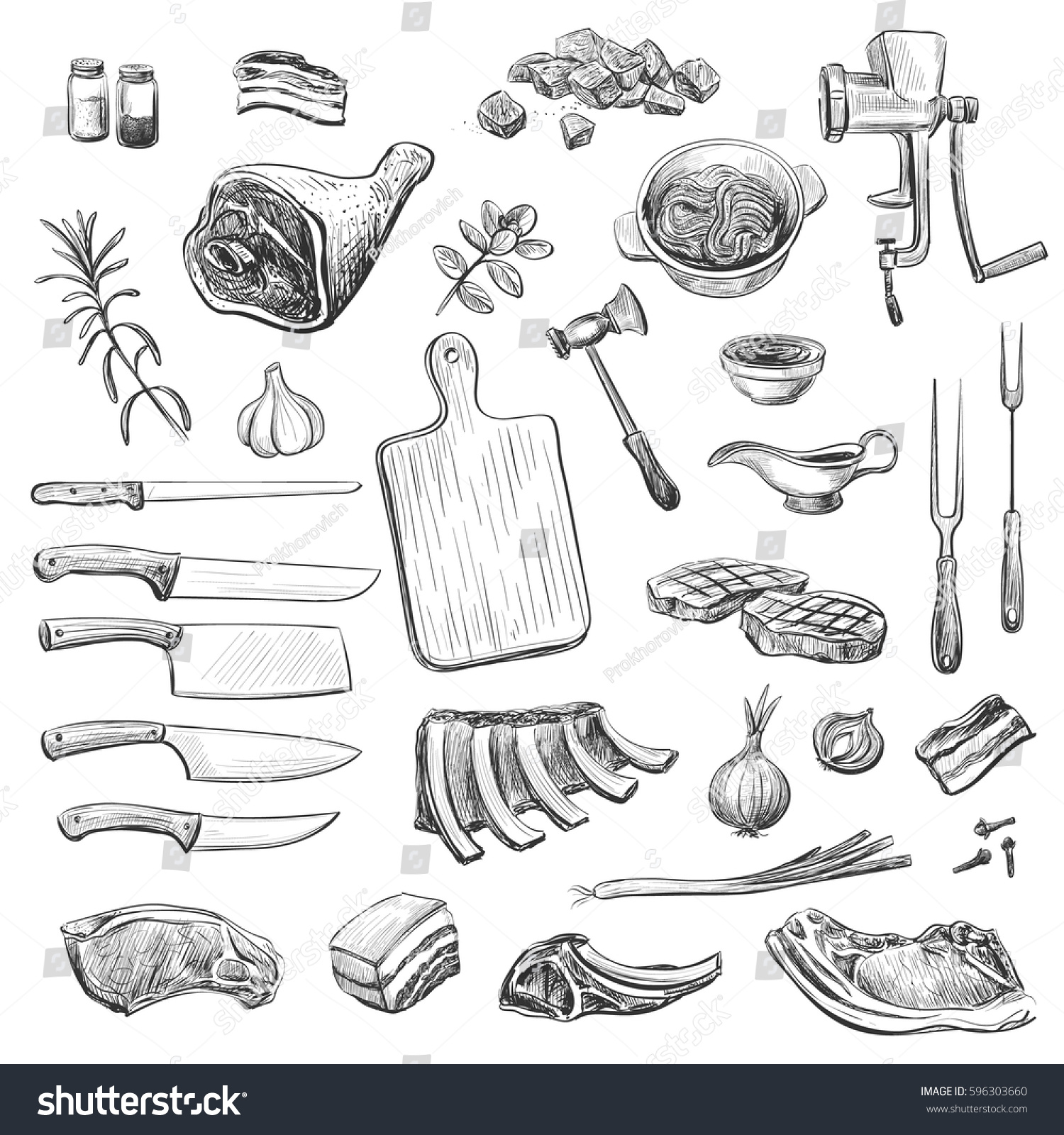 Vector collection of sketches on the theme of cooking meat isolated hand drawings