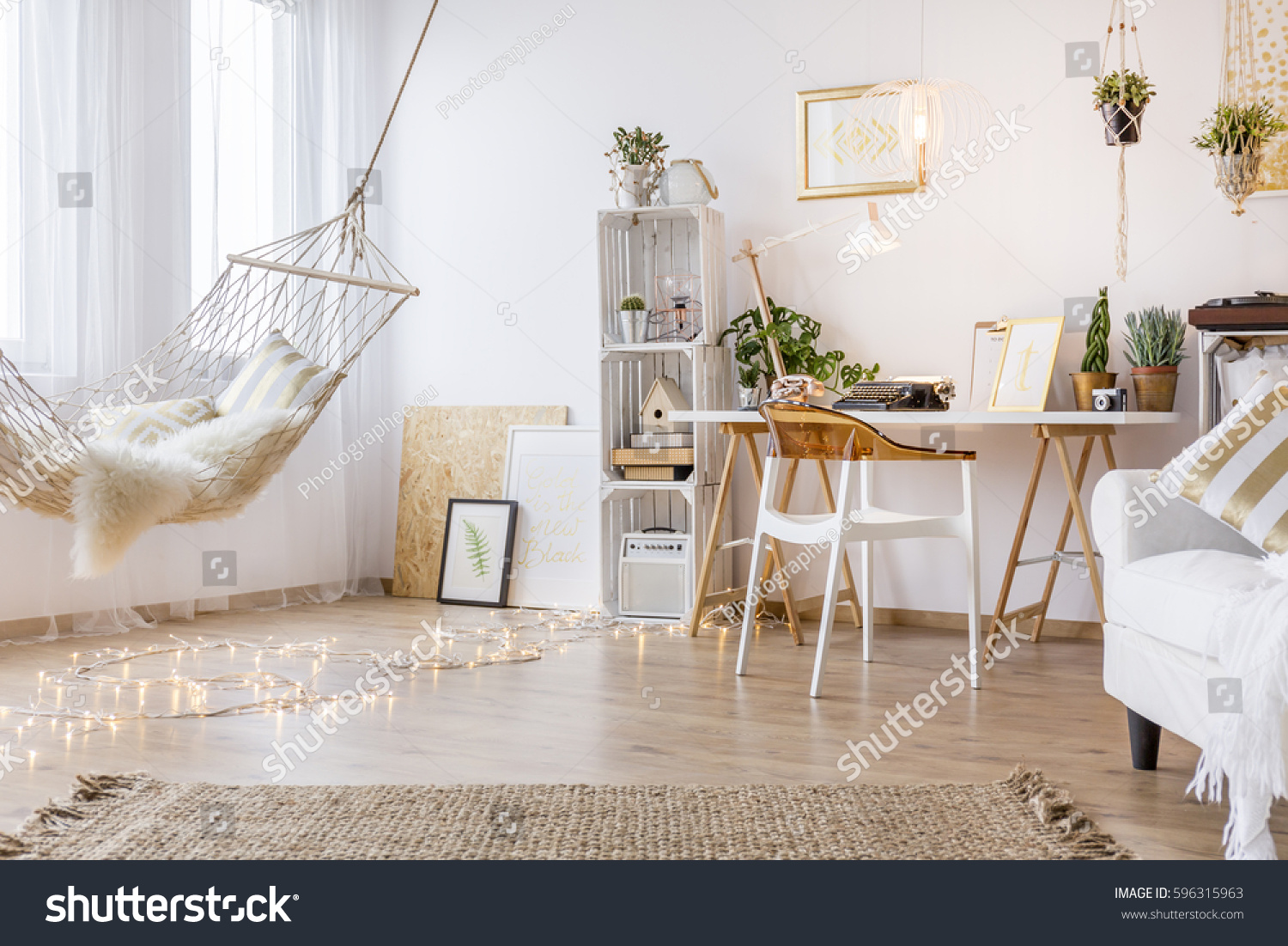 Cozy Working Place White Room Hammock Stock Photo & Image (Royalty ...