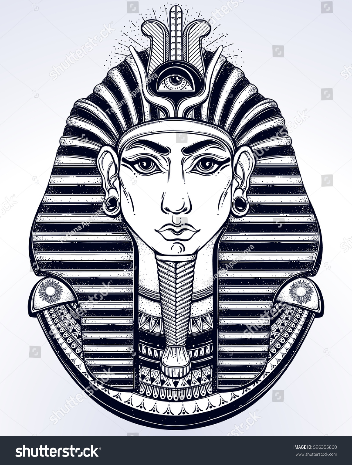 83951e5fc Hand-drawn vintage illustration of the ancient Egyptian Pharaoh's head. Tattoo  art, graphic, t-shirt design, postcard, poster design, coloring books.