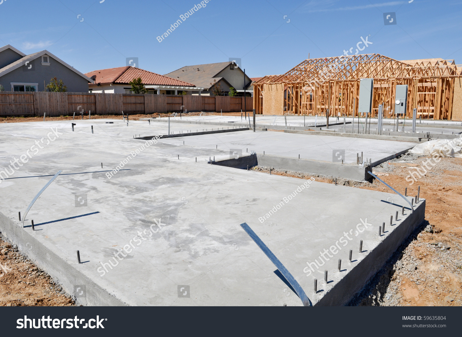 new home foundation construction stock photo 59635804