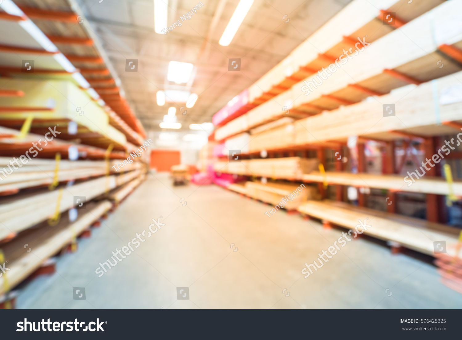 Blurred Stack New Wooden Bars On Stock Photo 596425325