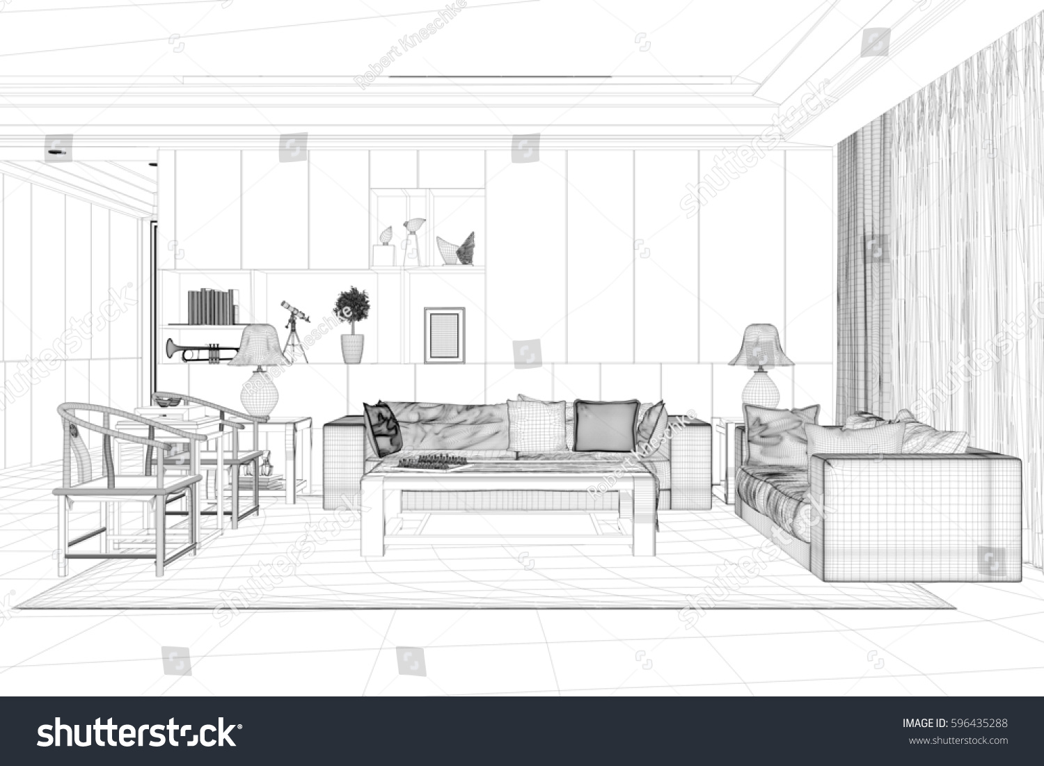 cad model living room sofa chairs stock illustration 596435288 shutterstock. Black Bedroom Furniture Sets. Home Design Ideas