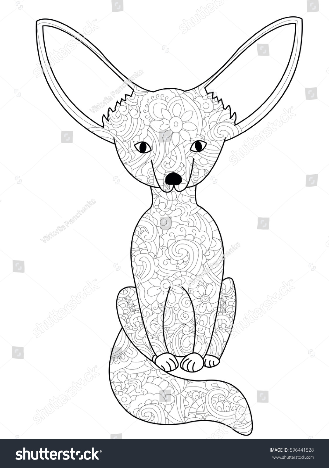 Fennec Fox Coloring Book Adults Vector Stock Vector ...