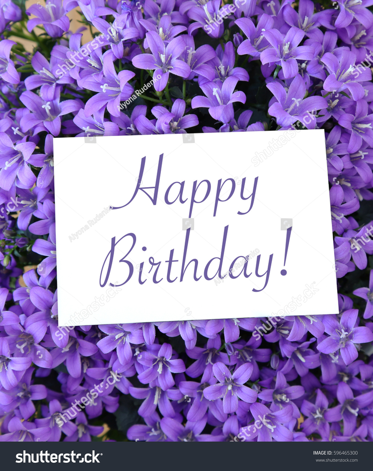 Happy birthday greeting card on background stock photo edit now happy birthday greeting card on the background of the small purple flowers of campanula izmirmasajfo