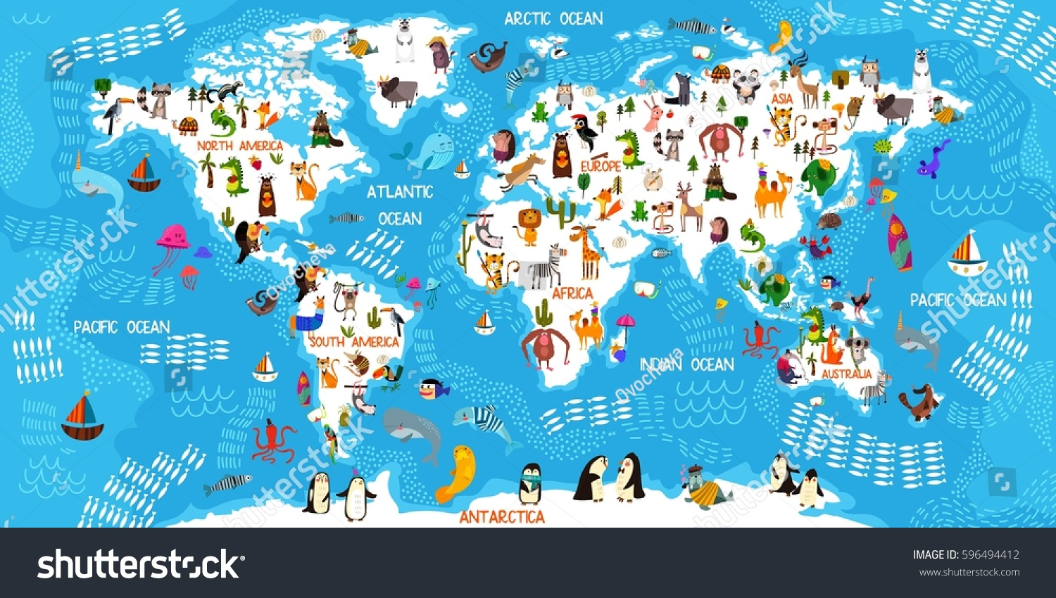 Cartoon Animal World Map Animals All Stock Vector (Royalty Free