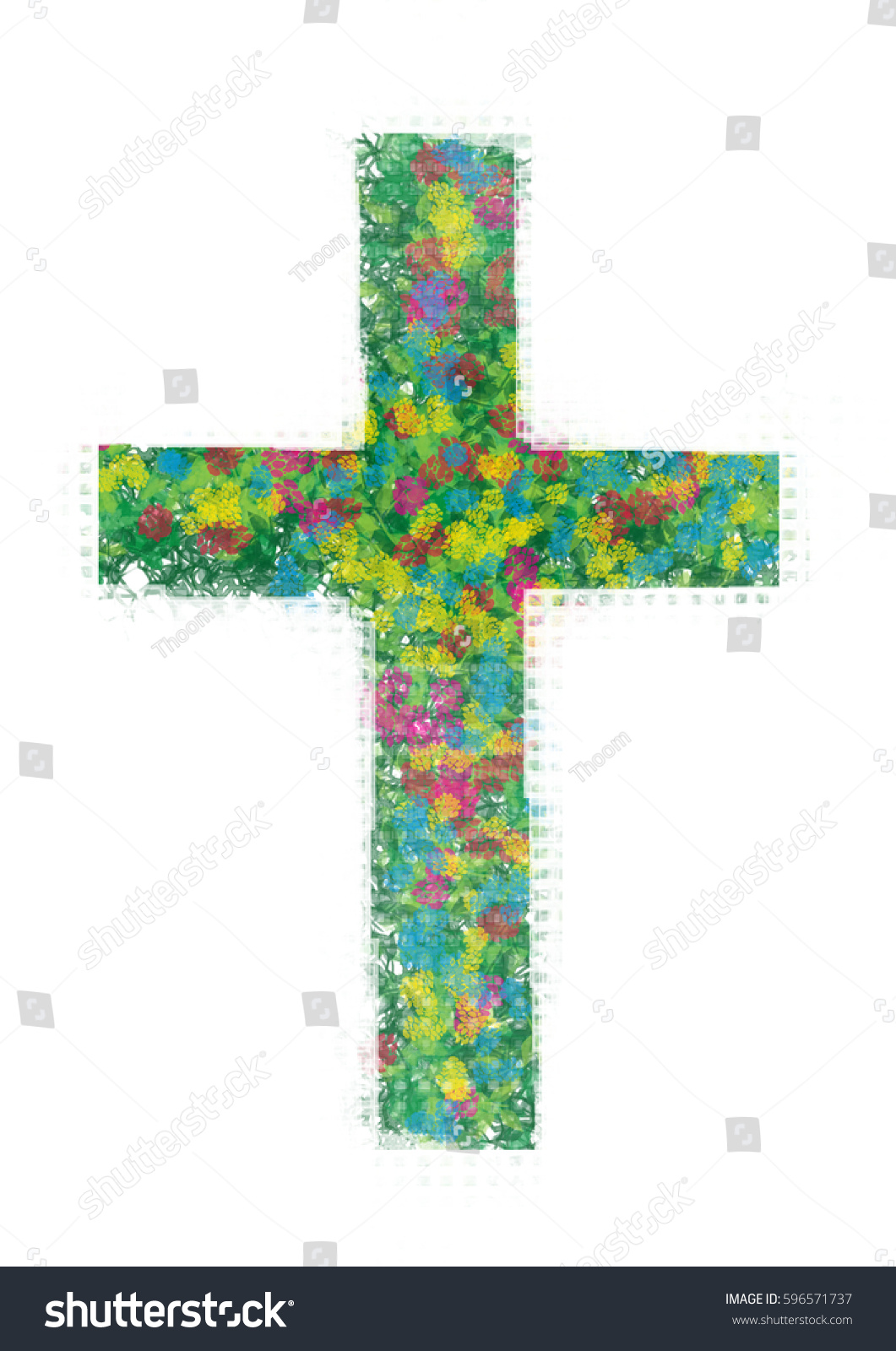 Cross Made Flowers Abstract Artistic Religious Stock Illustration