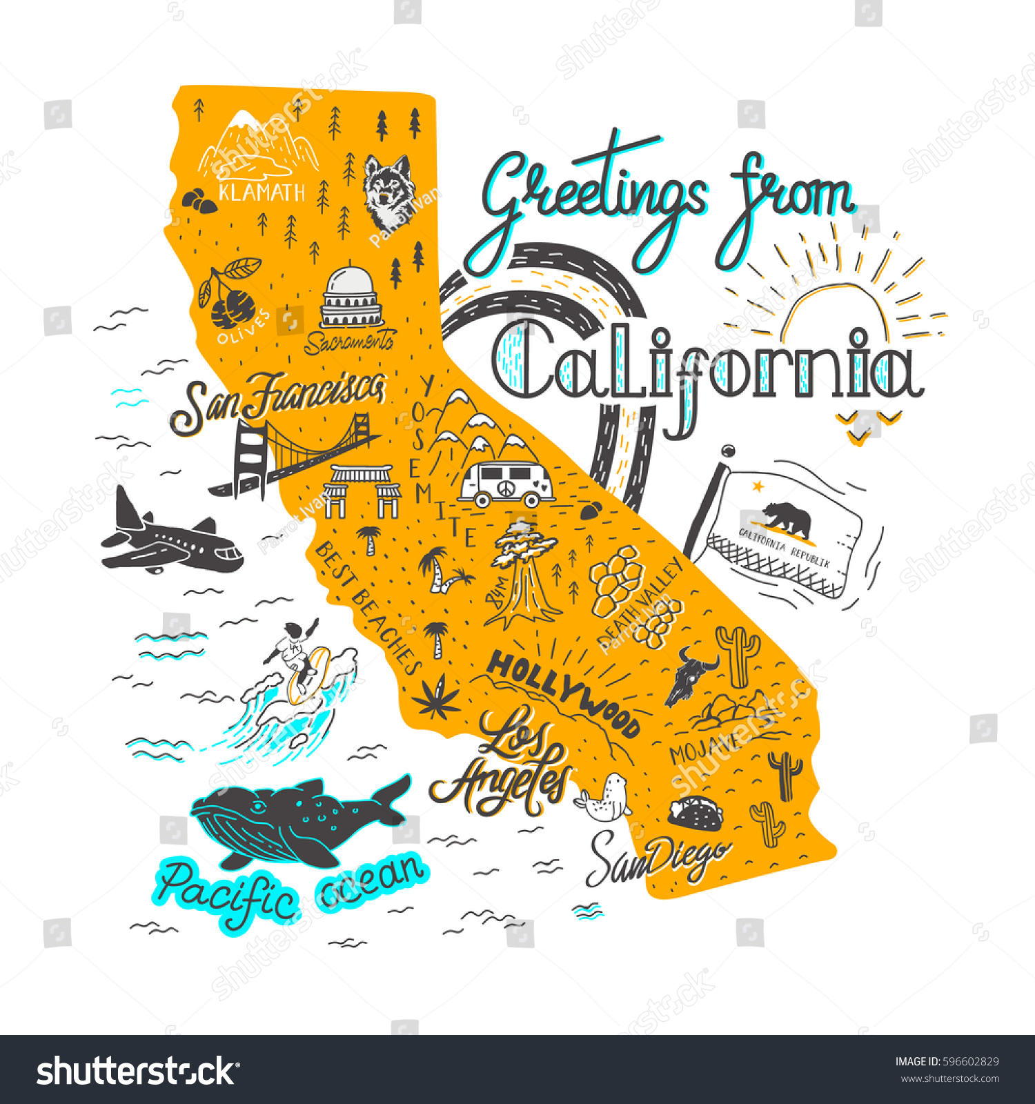 California Attractions Map Hand Drawn Illustration California Map Tourist Stock Vector
