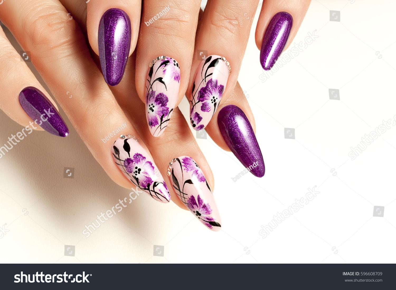 Nail Art Ideas nail art patterns : Nail Art Service Female Manicure Floral Stock Photo 596608709 ...