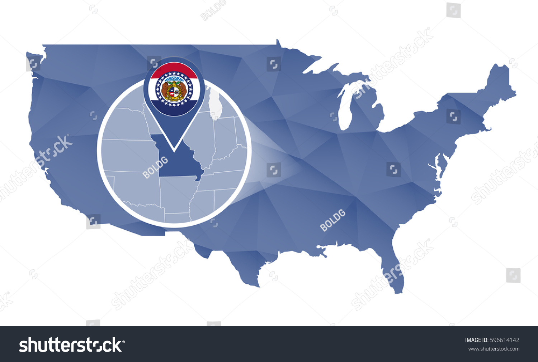 Missouri State Magnified On United States Stock Illustration