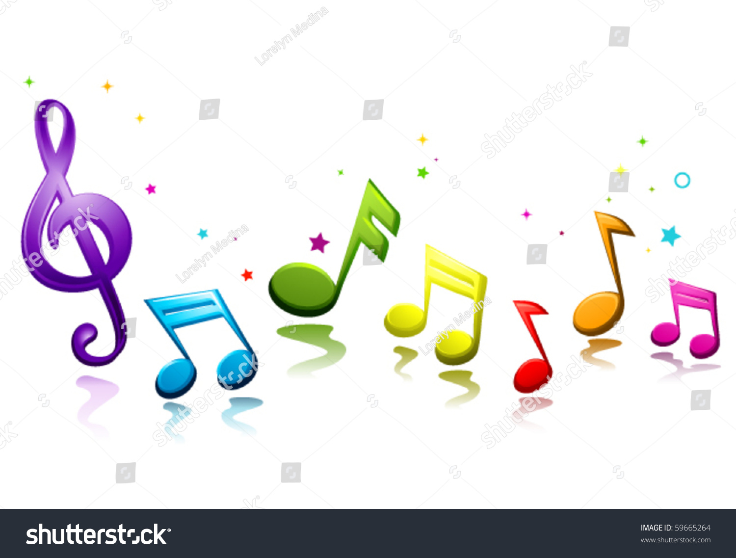 Rainbow Music Stock Images: Rainbow Colored Musical Notes Vector Stock Vector 59665264