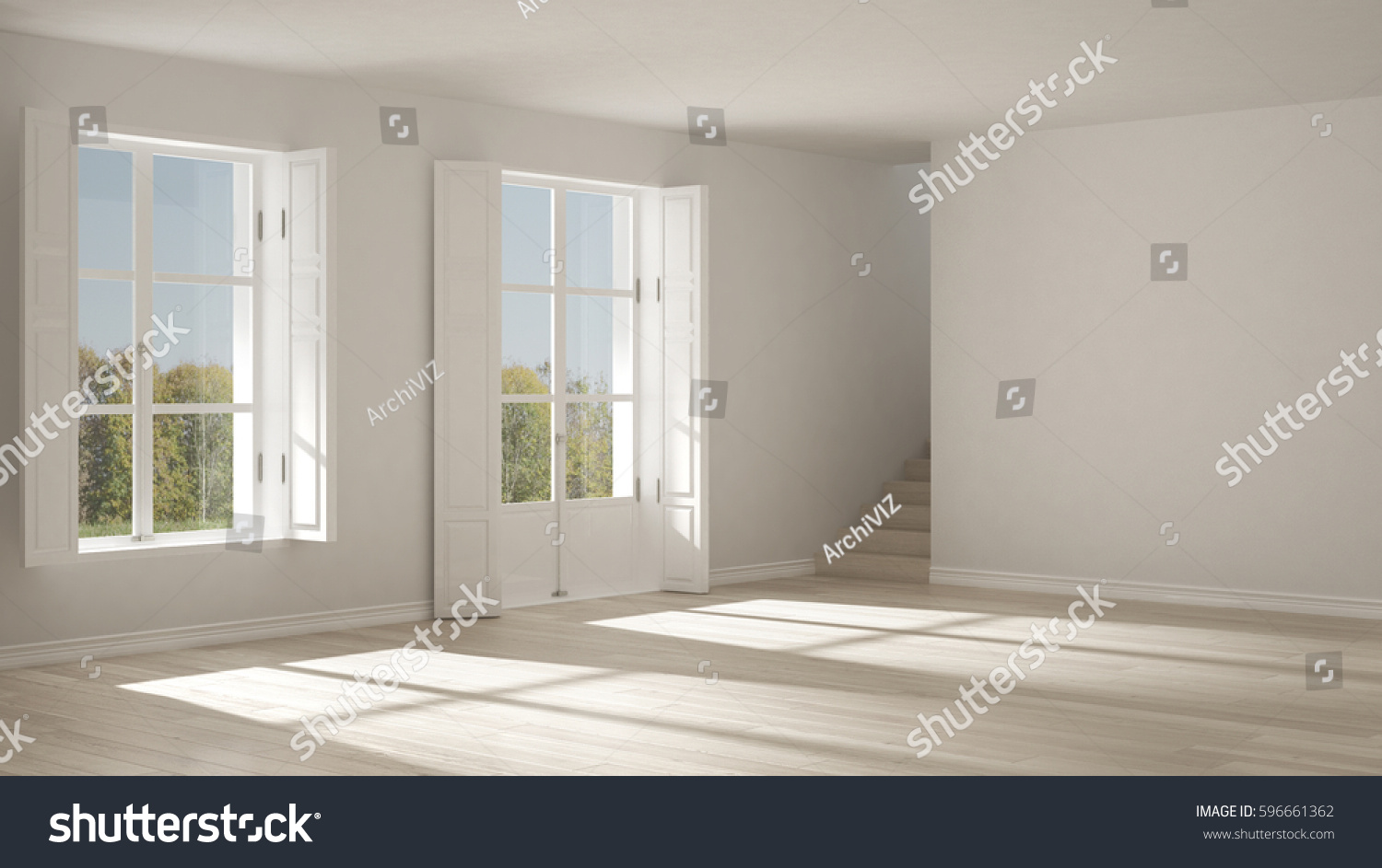 Empty Room With Windows And Stairs, Minimalist Scandinavian Interior Design,  3d Illustration