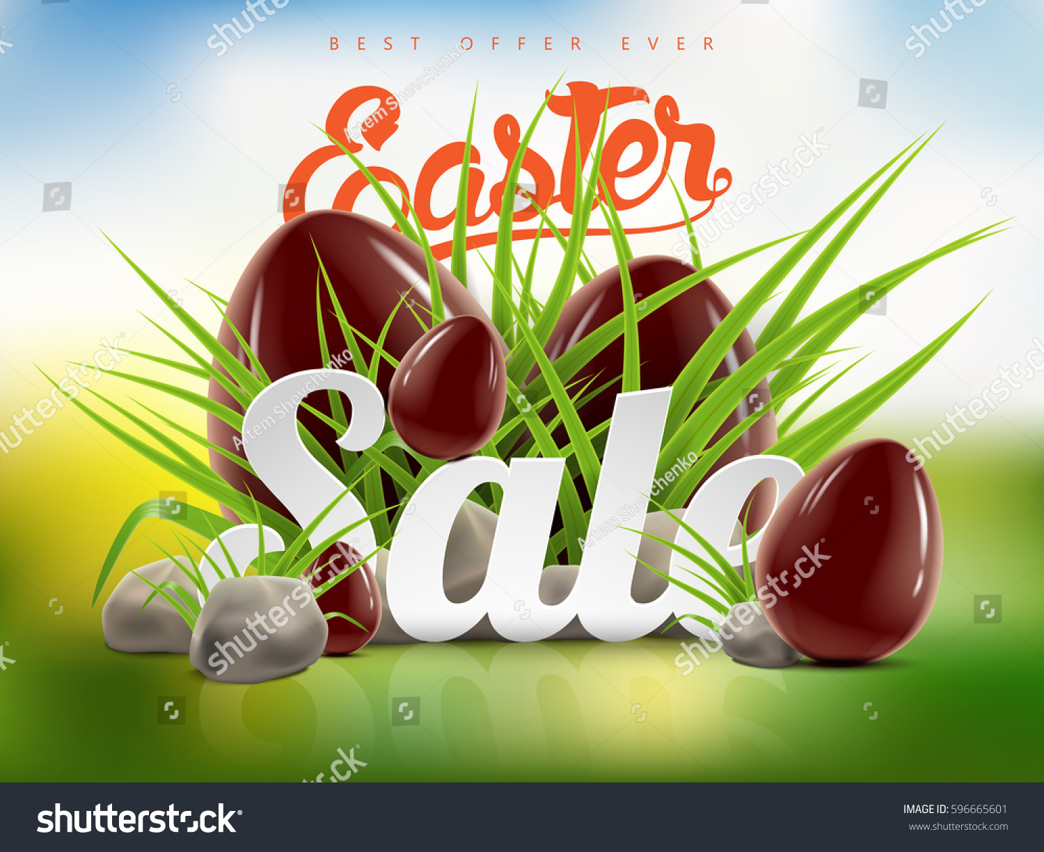 Easter Outdoor Style Sale Banner Background Stock Vector Royalty