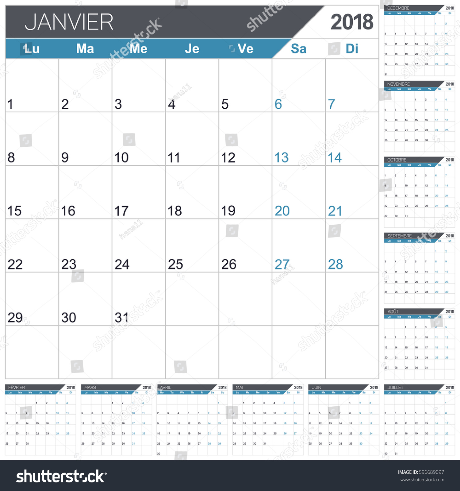 French Calendar Template Year 2018 Set Stock Vector Royalty Free