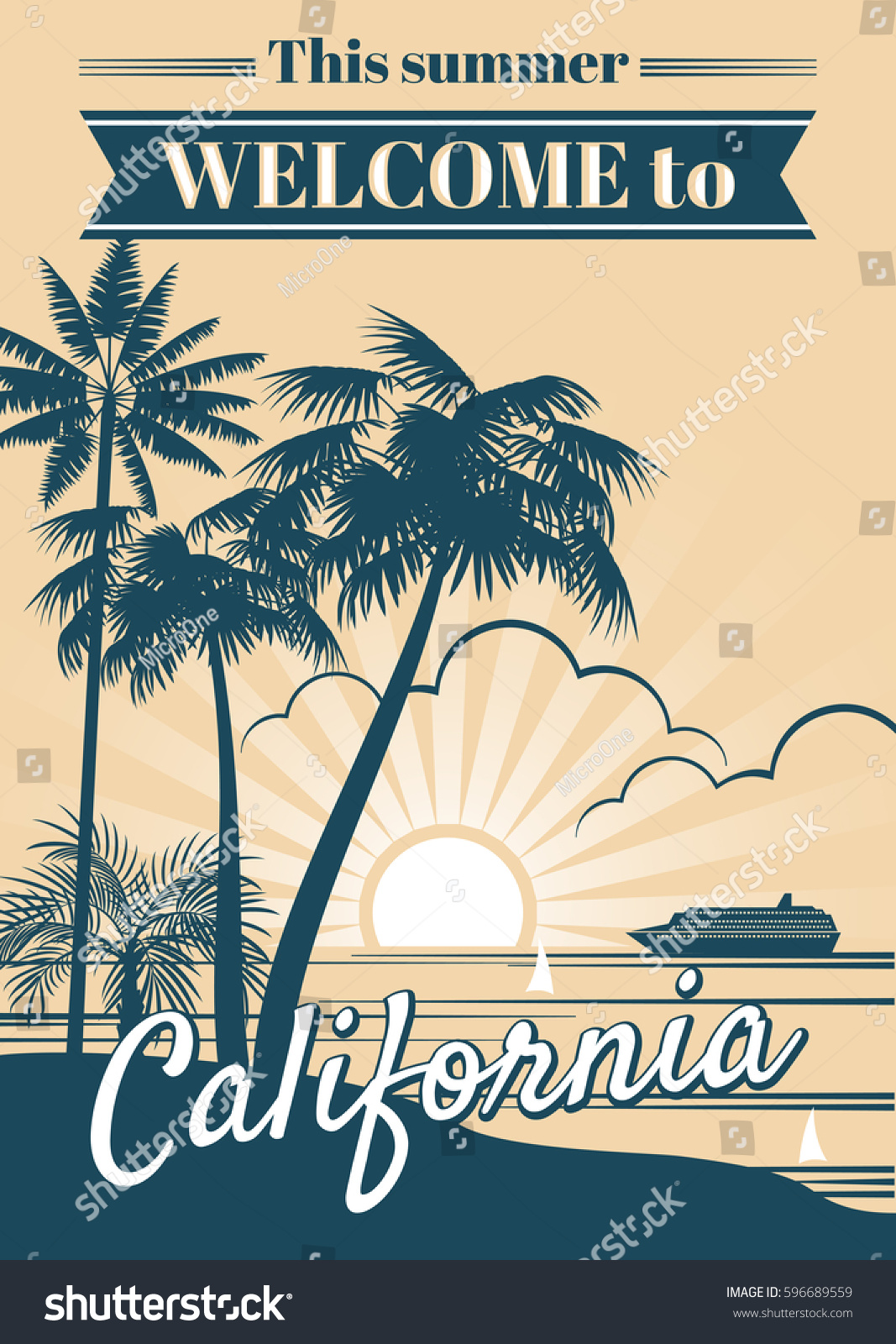 California Republic Vector Poster Palm Trees Vector de ...