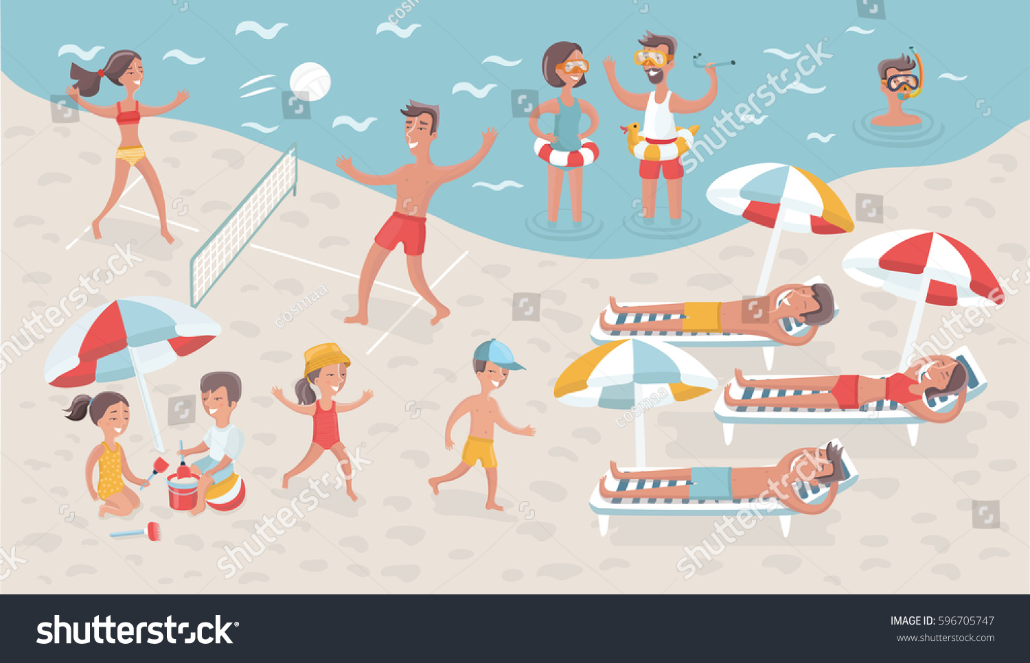 vector cartoon funny illustration scene people stock vector rh shutterstock com cartoon beach scene with people cartoon beach scene background
