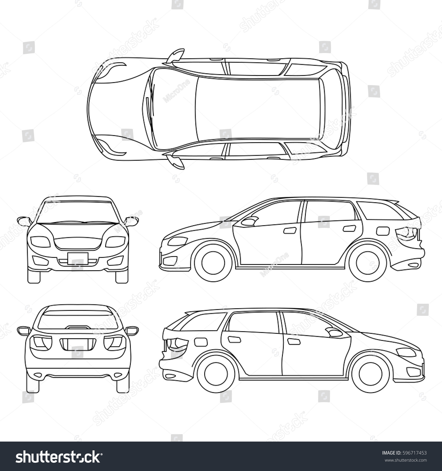 Line Drawing Car White Vehicle Vector Stock Photo (Photo, Vector ...