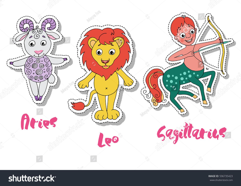 Set Of Three Zodiac Signs Aries Leo Sagittarius Symbol Of Fire