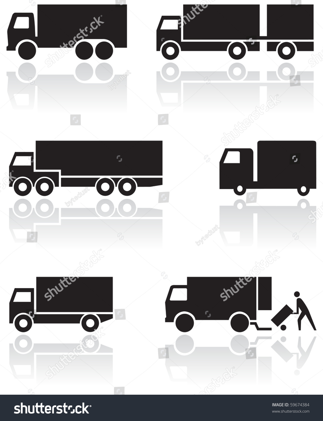 Vector Set Of Different Truck Symbols. All Vector Objects Are ...