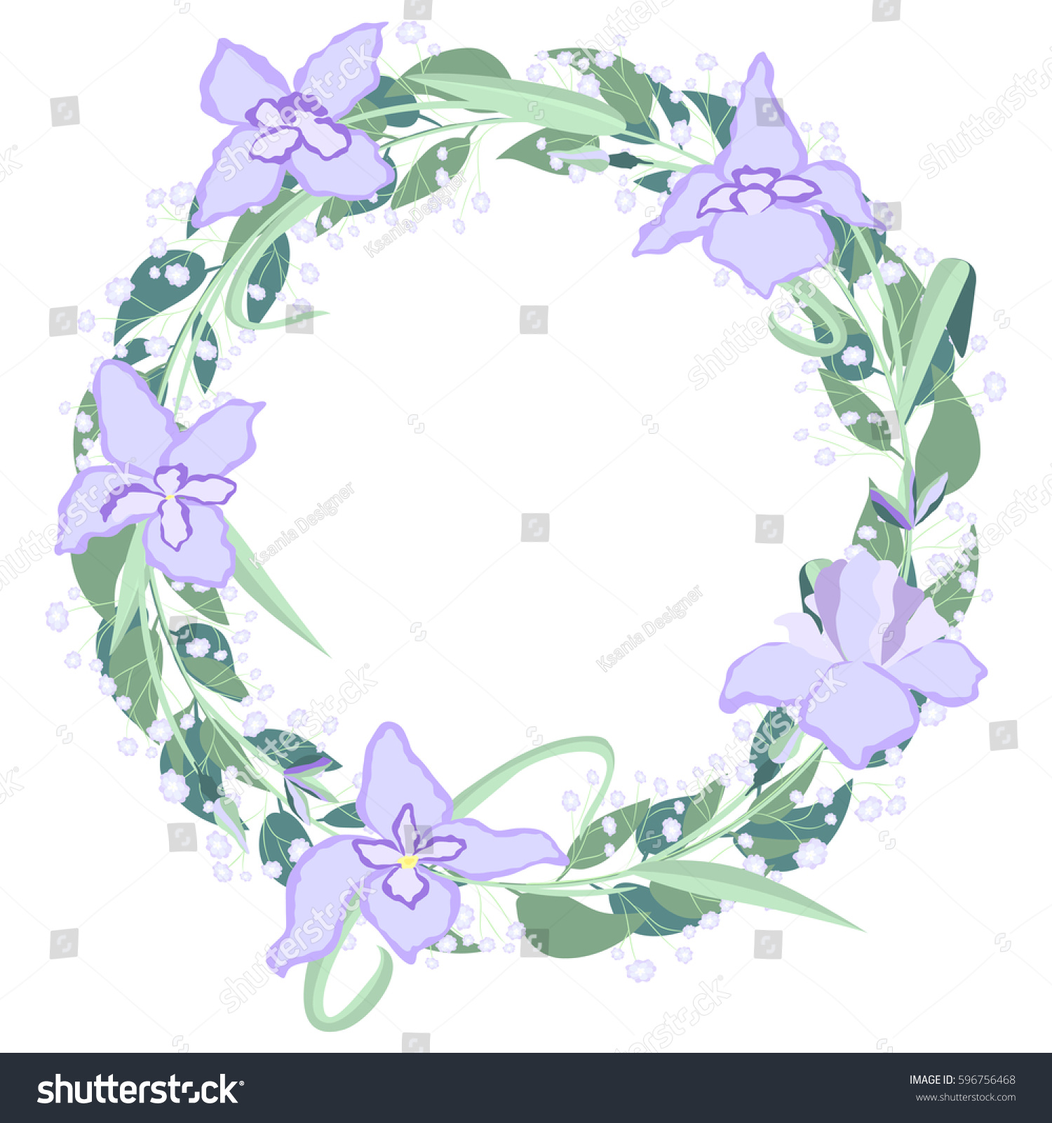flower iris beautiful holiday wreath vector stock vector 596756468