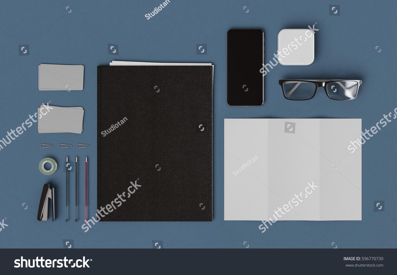 stationery branding mockup office supplies gadgets stock