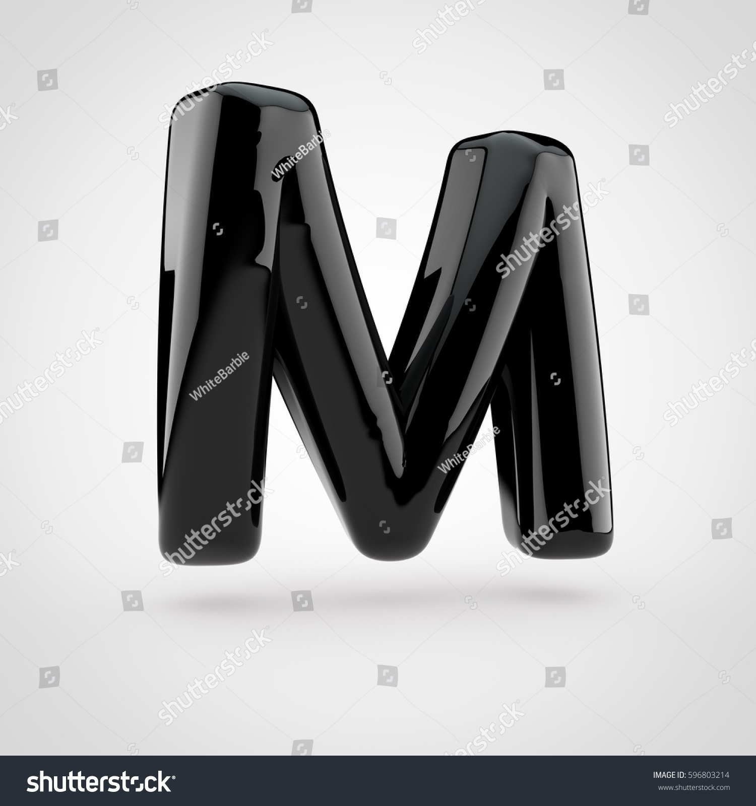 glossy black paint letter m uppercase 3d render of bubble twisted font with glint isolated