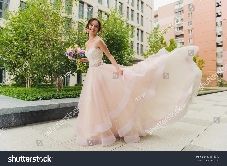 Happy Beautiful Bride Outdoors Pink Wedding Stock Photo & Image ...